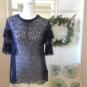 NWT! H&M Navy Blue Lace Plus Size Blouse